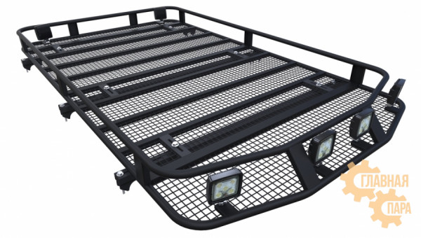 Багажник экспедиционный Б98.05 на Mitsubishi Pajero 4 (5 дв.) 1900х1200х120мм с сеткой на рейлинги