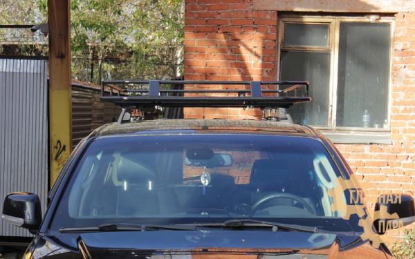 Багажник экспедиционный Б120.05 на Nissan Pathfinder R51 (2000х1250х120мм) с сеткой на рейлинги