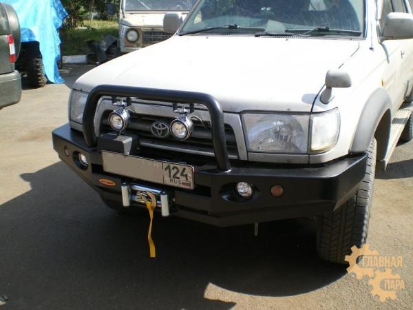 Бампер силовой передний Вездеходофф для Toyota Hilux Surf 185 с центральной дугой и фарами