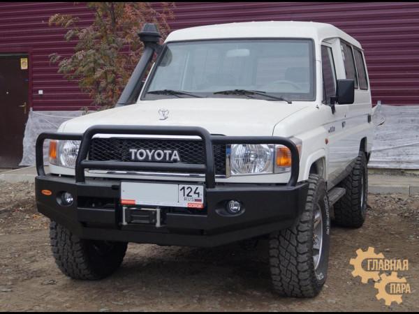 Бампер передний силовой Вездеходофф для Toyota Land Cruiser 78 2007+ с кенгурином и фарами