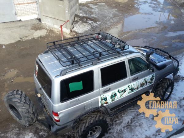 Багажник экспедиционный Б15.05 на УАЗ Патриот (2100х1200х120мм) с сеткой и креплениями на рейлинги