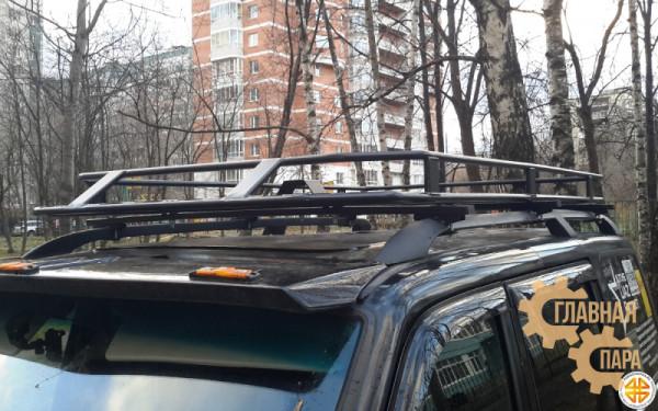 Багажник экспедиционный Б30.05 на УАЗ Патриот (2100х1200х120мм) с сеткой и креплениями на рейлинги