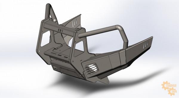 Алюминиевый передний силовой бампер KDT для Toyota Land Cruiser 200