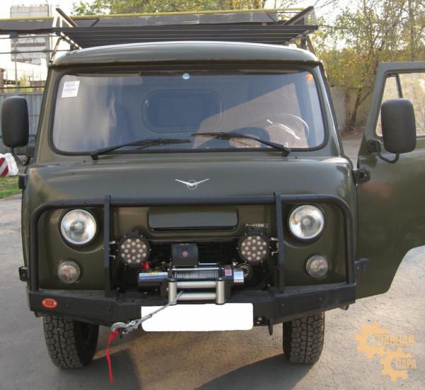 Бампер передний OJ 02.214.01 на УАЗ Буханка с кенгурином