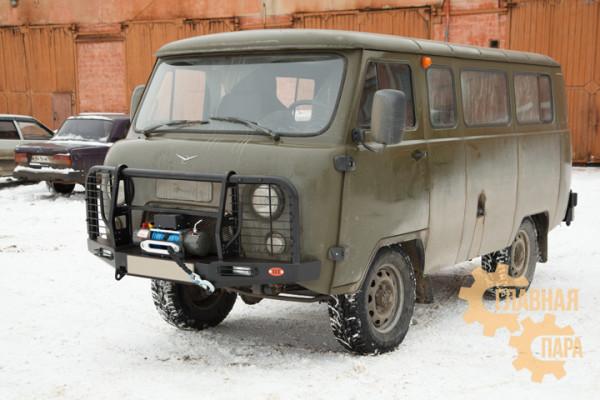 Бампер передний силовой OJ 02.214.03 на УАЗ Буханка с кенгурином + доп. опции