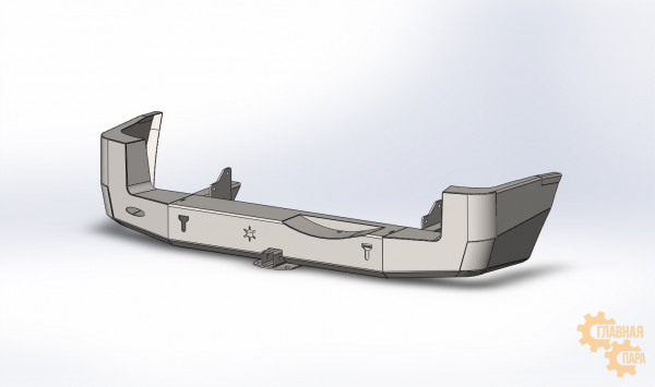 Задний силовой бампер Вездеходофф на Mitsubishi Pajero 3 (3 двери) с квадратом под фаркоп и доп.фарами