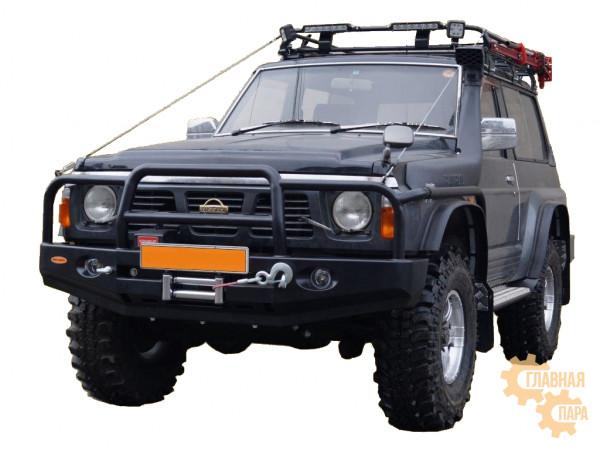 Бампер передний силовой Вездеходофф на Nissan Safary Y60 с площадкой под лебедку и доп.фарами