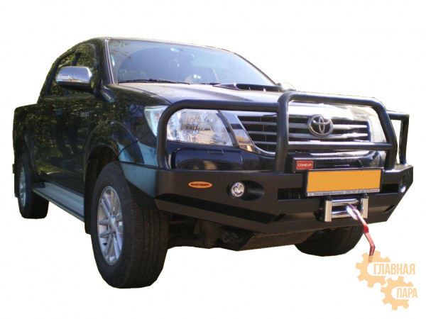 Бампер передний силовой Вездеходофф на Toyota Hilux 2005-2015 с кенгурином и фарами
