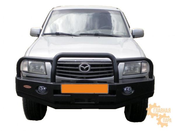 Бампер передний силовой Вездеходофф для Mazda B2500 с кенгурином, площадкой под лебедку и фарами
