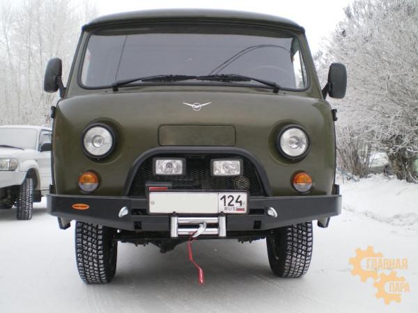 Бампер передний силовой Вездеходофф для УАЗ 452 Буханка с дугой и площадкой под лебедку