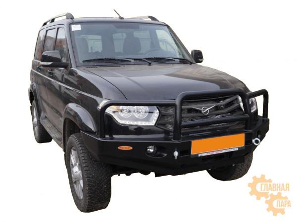 Бампер передний силовой Вездеходофф для УАЗ Патриот 2015+ под лебедку с фарами и кенгурином