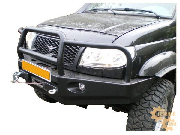 Бампер передний силовой Вездеходофф для УАЗ Патриот 2005-2015 под лебедку с кенгурином и фарами
