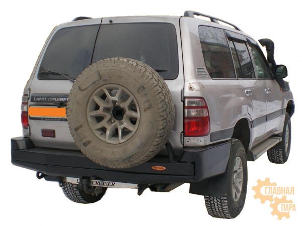 Бампер силовой задний Вездеходофф для Toyota Land Cruiser 105 с калиткой запасного колеса