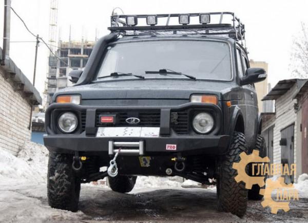 Бампер передний силовой РИФ RIFNVA-10300 на ВАЗ 2121 Нива с защитной дугой