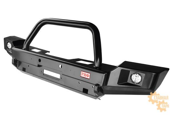Бампер силовой передний РИФ для Jeep Wrangler JK 2007-2018 с доп. фарами и центральной защитной дугой