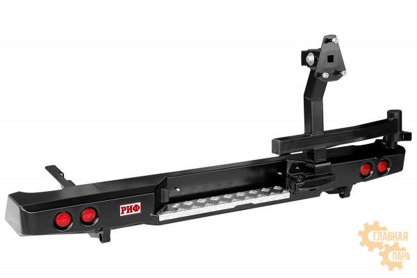 Бампер задний силовой РИФ RIFVIG-20250 на Toyota Hilux 2005-2014 с фонарями и калиткой