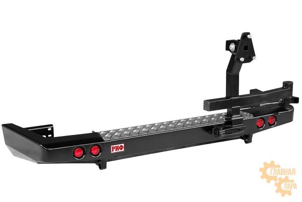 Бампер задний силовой РИФ RIF063-22250 на УАЗ Патриот 2015+ c фонарями и калиткой, лифтованный кузов