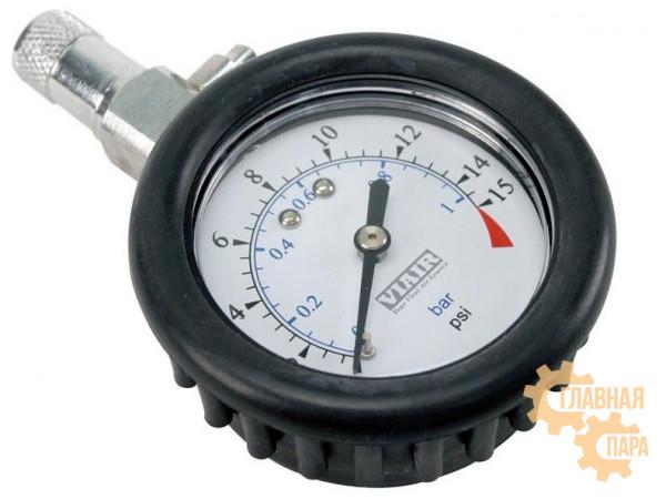 Манометр низкого давления в прорезиненном корпусе с выпускным клапаном для шин Viair 90058 диаметр 2.5