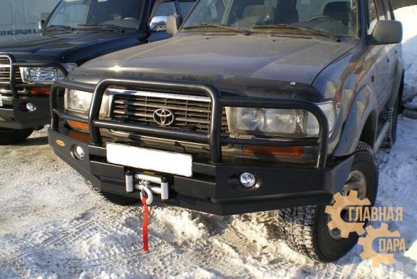 Бампер передний силовой Вездеходофф для Toyota Land Cruiser 80 с кенгурином и фарами